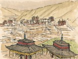Xiahe's lamasery extends between mountains